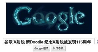 谷歌新Doodle纪念X射线被发现115周年