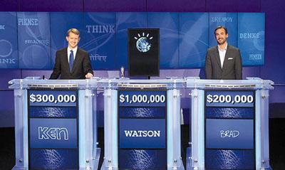 """""""沃森"""",16日在美国智力问答节目""""Jeopardy!""""战胜两名人类对手"""